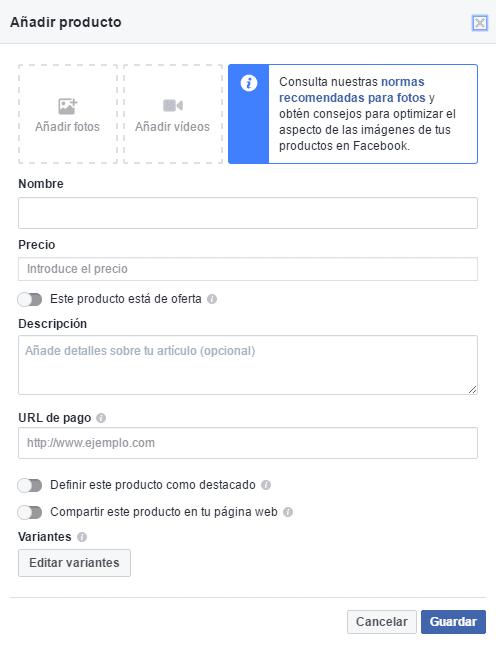 Configurar la ficha de producto en una tienda de Facebook online