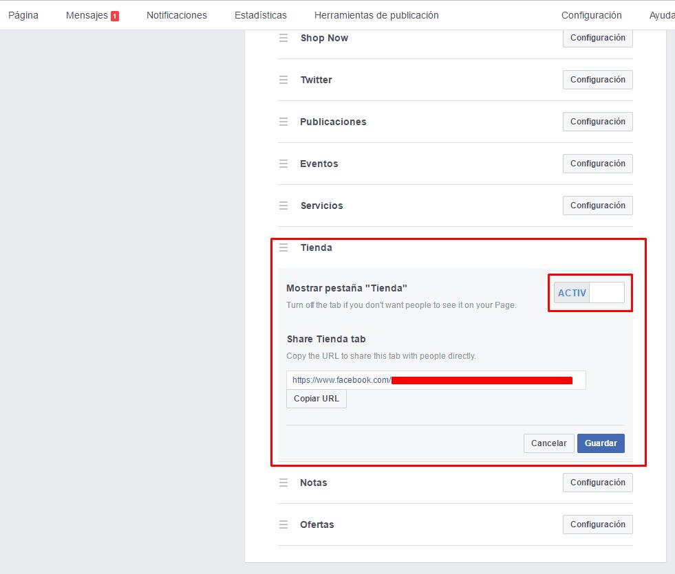 Crear tienda en Facebook